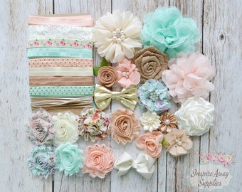 Shabby Chic DIY headband - baby shower headband kit, DIY baby headbands, headband station, makes 20 headbands, DIY fabric flower headbands