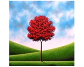 Red Tree Oil Painting, Texture Painting, ORIGINAL Art, Canvas Art, Large Colorful Modern Landscape Painting, Huge Abstract Tree Art, 36x36