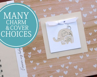 Gender Neutral Pregnancy Journal | Pregnancy Gift | Personalized Pregnancy Scrapbook | Woodgrain Hearts with Mama and Baby Elephants Charm