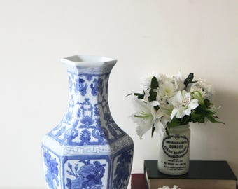 SALE - Tall Vintage Vase - Large Blue and White Ceramic Hexagonal Shaped Vase with Floral Design