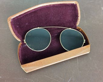 Clip On Sunglasses - Vintage Eyewear Round Shades