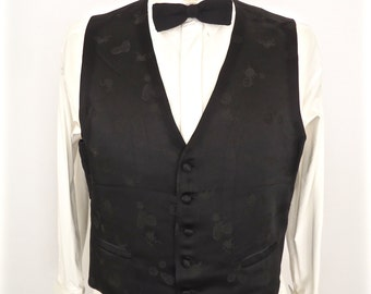 Vintage Black Brocade Satin Vest / Asian jacquard pattern tuxedo waist coat / embroidered dress wedding waistcoat / suit vest / men's large