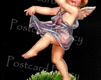 Charming Cupid, Love Angel Dances with Heart, Instant DIGITAL DOWNLOAD, Vintage Valentine