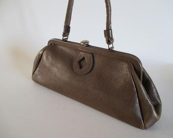 Vintage Brown Pebbled Leather Kelly Bag | Top Handle Bag | Women's Handbag Purse Pocketbook by Letisse  | 60s Mad Men Mod