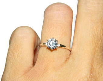 1 Carat Engagement Ring, Low Profile Promise Ring, Sterling Silver Purity Ring With Cubic Zirconia