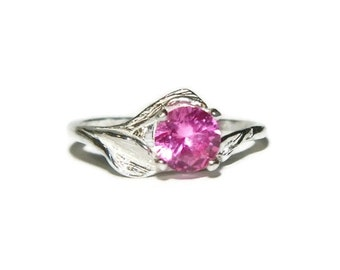 Leaf Ring With Pink Sapphire Stone, 1 Carat Anniversary Ring, Engagement Ring
