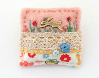 little rabbit brooch, rabbits, hares, hare brooch, rabbit lover gift, wildlife gifts, leaping hare, girls gifts, pink animal badge, UK shop