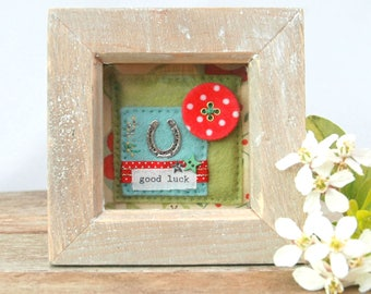 good luck gift, lucky horseshoe, small picture, graduation gift, exams gift, wedding, engagement gift, new job, mixed media, gift for bride
