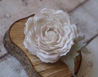 Rose for Hair, Bridal Head Piece, Ivory Wedding Hair Clip, Satin Hair Accessory, Ivory Headpiece, Bridal Hair Fascinator