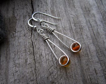 Amber Sterling Moon Catcher (TM) Earrings - Minimalist