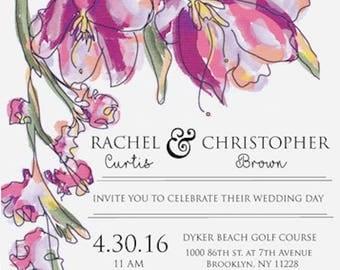 Purple and pink flowers digital wedding invitation,watercolor flowers digital wedding invitation, pink watercolor flowers digital invitation