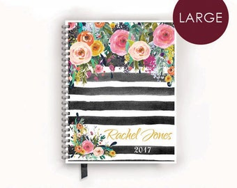 Large Personalized Planner 2017 Calendar Book with Watercolor Florals on Black Stripes