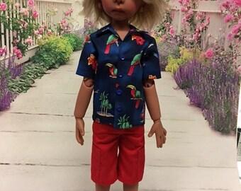 Tropical shirt & Cargo shorts fits Kaye Wiggs Maurice, MSD