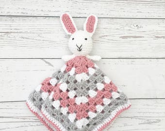 pink crochet comforter | baby rabbit blankie | crochet snuggly | bunny comforter | crochet blankie | baby snuggly | new baby gift