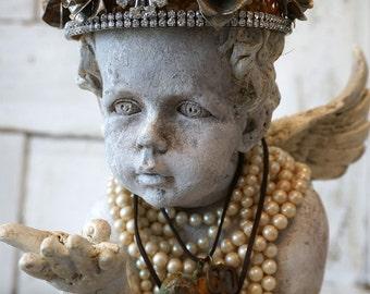 Angel cherub statue rusty rhinestone crown shabby cottage chic distressed painted faux concrete angelic figure decor anita spero design