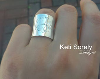 Engraved Cuff Ring with Your Initials, Monogram Ring in Sterling Silver Or Solid Gold - Personalized Large Tube Ring