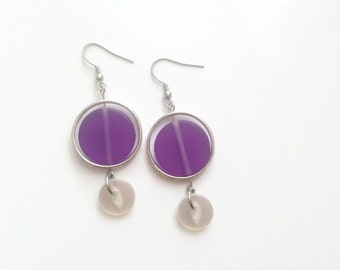 50% OFF - Purple earrings - Recycled button jewelry resin metal - Dangle earrings - Colorful earrings - Made in Canada - Mlle Bouton