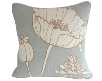 Thom Filicia Poppyfield Blue Linen Accent Pillow Cover with Piping