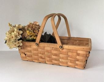 Wood Splint Basket, Vintage Garden Basket, Large Gathering Basket, Farmhouse Basket With Two Handles, Rustic Kitchen Storage