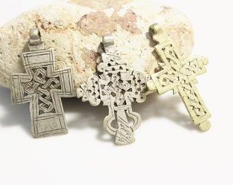 3 Handmade Crosses from Ethiopia, Religious Pendants, African Jewelry Supplies (*AJ4*)