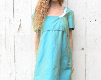 Silk Dress - upcycled party dress , maternity clothes , womens size medium teal dress  refashioned clothing with tulle - empire waist style