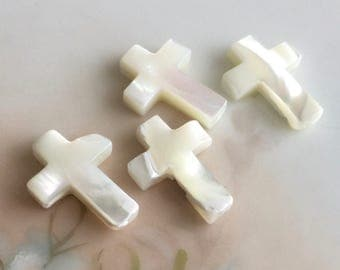 17 mm x 13 mm mother of pearl cross beads catholic religious rosary jewelry supply, lot of 4 pcs