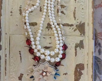 Art to Wear, Cameo Necklace, Assemblage Necklace, Shabby Chic Necklace, Pearl Necklace, Romantic Cowgirl, Victorian, Bertha Louise Designs