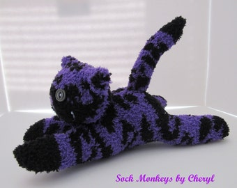 Sock Cat Kitty Tiger Fuzzy Purple Plush Doll Toy Handmade