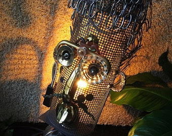 Handcrafted Tribal Mask Lamp, Steampunk Modern Lamp, Man Cave Lights, Evening Lamp, Illuminating Sculpture, Bedroom Lamp, Light Sculpture