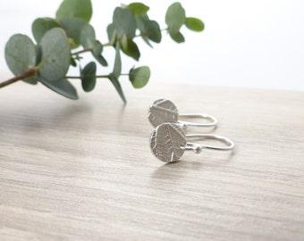 Round Drop Earrings - Silver Disc Earrings - Delicate Earrings - Leaf Earrings - Silver Dangle Earrings - Nature Earrings