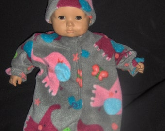 Grey Fleece Elephant Sleeper and Hat Doll Clothes Made To Fit Bitty Baby and Other 15 inch Dolls