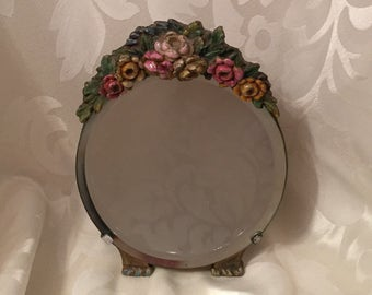 Barbola Mirror - Antique English Country Cottage Rose Mirror - Lovely