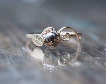 Meteorite Engagement Ring with 14K YellowGold and Campo del Cielo Meteorite - Swirls and Leaf Leaves Elvish Fairy Nature