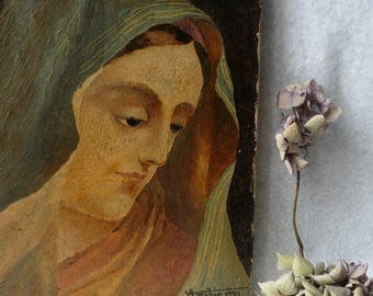 Old Painting Religious Oil on Canvas Virgin Signed 1930, Art Deco, Painting, Art, Catholic, Shabby, Madonna, Portrait, France