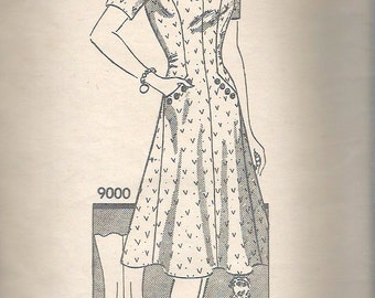 Vintage 1940's Marian Martin 9000 Dress with Sweetheart Neckline Sewing Pattern Size 20 Bust 38""