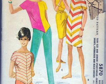 """Vintage 1961 McCall's 5870 Teen Sportswear, Pants or Shorts, Overblouse & Beach Dress Sewing Pattern Size 12T Bust 32"""""""