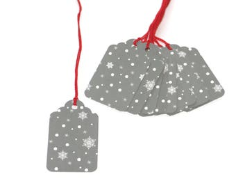 Gray & White Snowflake Gift Tags, Christmas, Holiday, Xmas Tag, Party Favor, Decoration, Scrapooking Embellishment, Polka Dot, Winter Snow