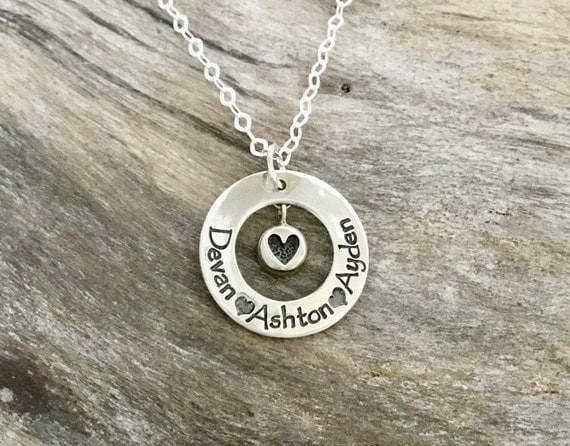 Personalized Mothers Necklace/Personalized Heart Name Necklace/Hand Stamped  Sterling Silver Heart/ Kids Names Necklace/ Custom Jewerly