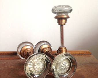 Antique Glass Door Knobs with Copper-Colored Shanks, Round Glass Door Knobs with Inset Rosettes, Antique Door Hardware, Priced Individually