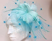 Aqua Kentucky Derby Fascinator, Turquoise Fascinator for Derby, Easter Hat