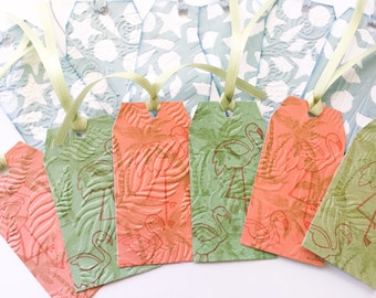 Set of 12 Handmade Gift Tags - Seashell gift tags - Flamingo gift tags - nautical tags - embossed tags - salmon tags - starfish tags