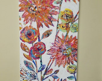 "Flower garden painting, Abstract flowers, Colorful, Textured Art, Hidden Garden collection 12 x 24 ""Dazzling Clementine 1"""