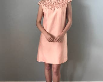 Vintage 60s Peach Dress Embellished Neckline