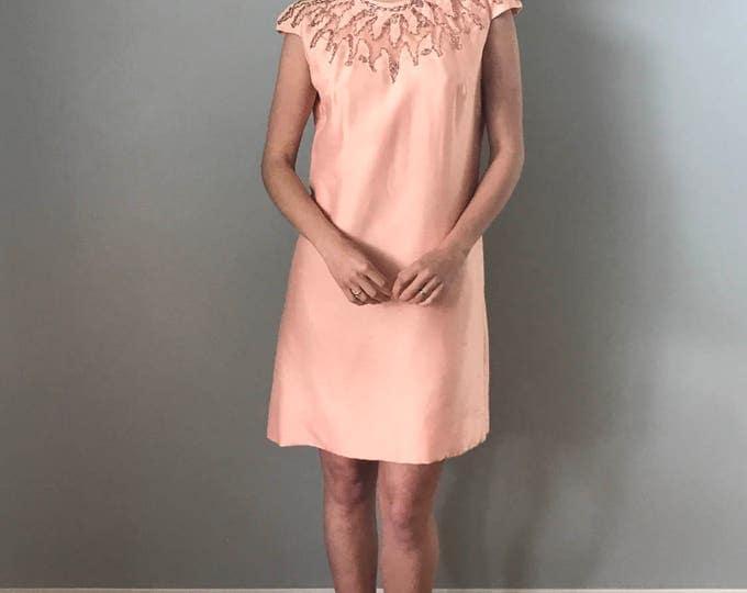 Vintage 60s Peach Dress Embellished Neckline