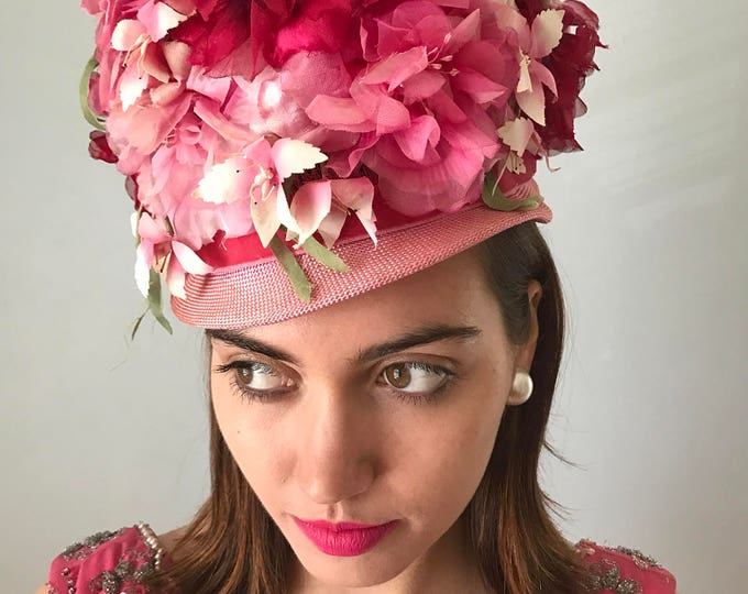 Vintage 60s Pink Petal Topper Hat