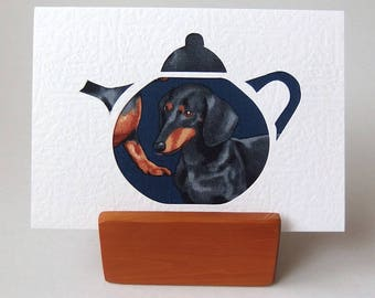 """Teapot card  DACHSHUND fabric in cutout shape.  6"""" x 4"""" with envelope.  Dachshund Dog Greeting card  on white textured card."""