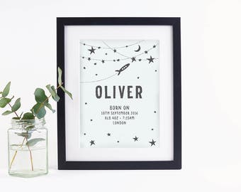 Personalised Baby Print Space Monochrome