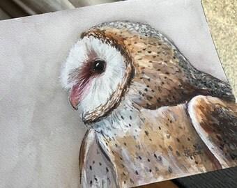 Barn Owl Watercolor Painting Original Owl Decor Illustration Barn Owl Art Wild Bird Bird of Prey Owl Watercolor Wildlife Painting, 7x10