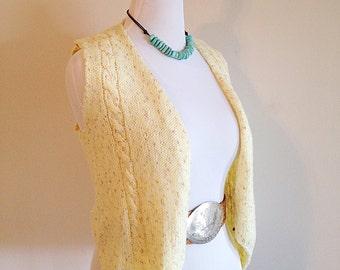 Vintage Handmade Knit Yellow Sweater Vest 1970s