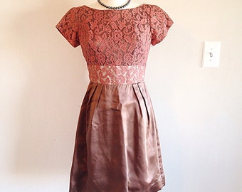 Pretty Blush Champagne Mid Century Party Dress